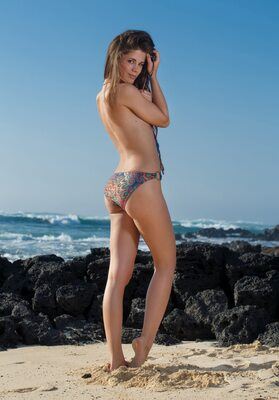 Picture tagged with: Skinny, Brunette, Little Caprice, Villade, Beach, Bikini, Cute, Shy, Small Tits